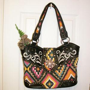 Stunning Western Print Fabric & Leather Handbag